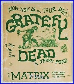 Grateful Dead Jerry Pond Matrix San Francisco 1966 AOR 2.108 Concert Poster