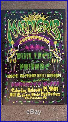 Grateful Dead Lesh Robinson Crows Panic Mardi Gra Autographed Concert Poster