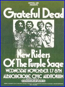 Grateful Dead Original Concert Handbill Albuquerque New Mexico 1971 Pigpen Era