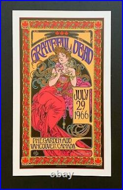Grateful Dead P. N. E Garden And Vancouver Canada July 29 1966 Poster Signed