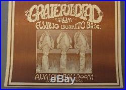 Grateful Dead POSTER Original AOR 2.26 AUM/Flying Burrito Bros