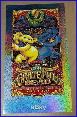 Grateful Dead Poster GD50 Soldier Field Chicago AJ Masthay Sparkle Foil Print N2