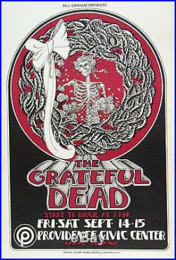 Grateful Dead Providence Rhode Island 1973 Poster Hand signed by Randy Tuten