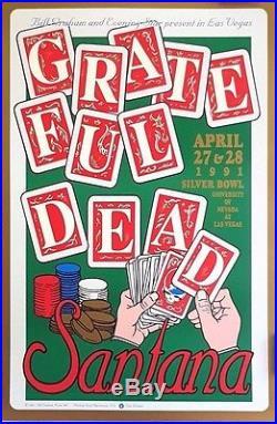 Grateful Dead & Santana Las Vegas Orig. 1991 Rare Double-Sided Poster