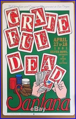Grateful Dead & Santana, Las Vegas Orig. 1991 Rare Double Sided Poster