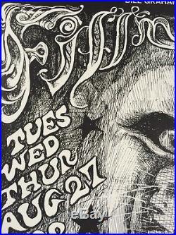 Grateful Dead & Santana Original Concert Poster Fillmore West BG134 Lee Conklin