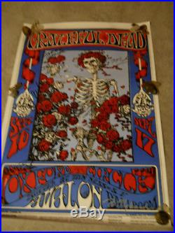 Grateful Dead Signed Poster Hand Signed By Jerry Garcia and Bob Weir + 3 More