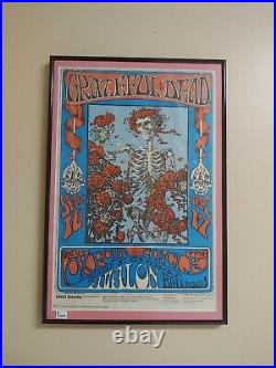 Grateful Dead Skull And Roses With Oxford Circle Fd-26 3 Signed Poster Framed