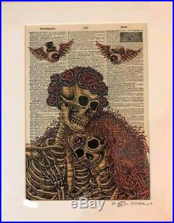 Grateful Dead Skull & Roses Dictionary Couple by Emek 2nd Edition Poster Doodled