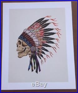 Grateful Dead Spring 1990 Wes Lang Warrior Skull Print Rare Mint LE 250