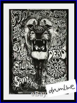 Grateful Dead Steppenwolf Oversized Concert Poster 1968 3rd Print Fillmore