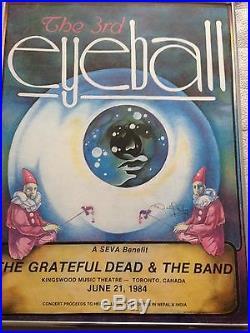 Grateful Dead & The Band 3rd Eyeball Seva Poster Levon Helm 1984 Toronto