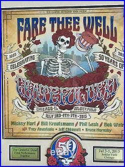 Grateful Dead fare thee well concert poster framed soldier field July 2015 patch
