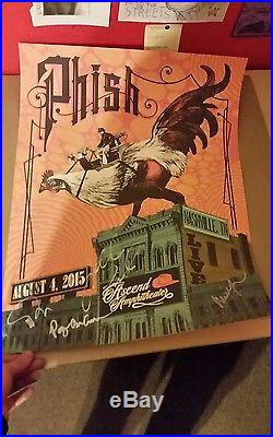 Grateful dead fare thee well emek pink foil and phish signed poster with COA