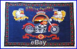 HARLEY DAVIDSON MOTOR CYCLE Vintage Tapestry 80's Biker HUGE WALL HANG Poster