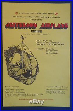 Jefferson Airplane 1969 University of Maryland concert poster FD, BG, AOR, Grateful