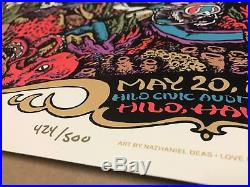 Jerry Garcia Band Poster Hawaii 1990 Print 424/500 Hand Signed & Peace Doodle