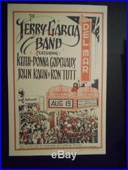 Jerry Garcia Poster 8-19-76 Del Mar Theater Santa Cruz, Ca. S & N By Jim Phillips