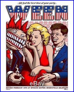 Justin Hampton Ween Poster 2-14-16 Broomfield Reunion Show
