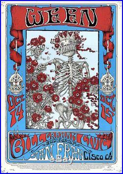 MINT & SIGNED EMEK Ween Grateful Dead 2016 Skeleton & Roses A/P Poster 3/20
