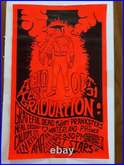 ORIGINAL 1st Print Grateful Dead Ken Kesey Acid Test Graduation Poster EX- RARE