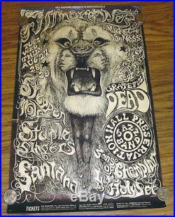 Original Bill Graham Grateful Dead & Santana Concert Poster Fillmore West Bg134