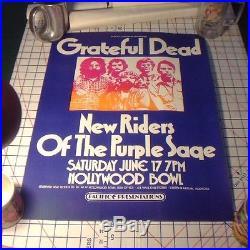 ORIGINAL Grateful Dead June 17, 1972 @ Hollywood Bowl Concert Poster