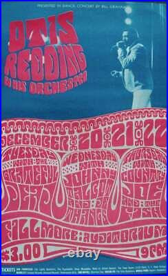 OTIS REDDING GRATEFUL DEAD BG 43 FILLMORE concert poster 1966 BILL GRAHAM NM