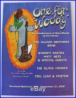 One for Woody Concert Poster Allman Brothers Black Crowes Phil Lesh NYC 2000