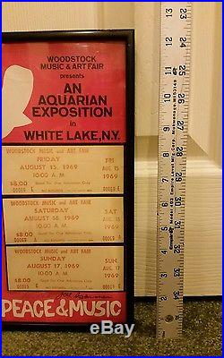 Orig. Woodstock'69 Concert Poster & Tickets-3 Days of Peace & Music withCOA 9x12