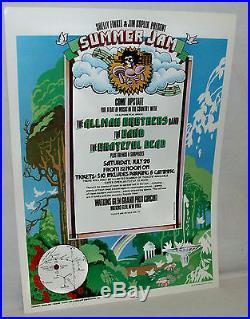 Original 1973 Summer Jam Concert Poster Grateful Dead & Allman Bros Watkins Gl