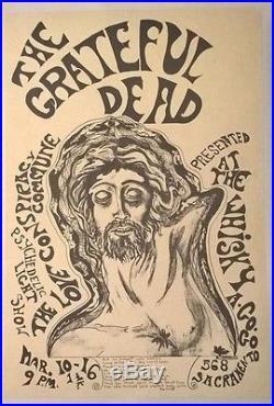 Original 1st Print 1967 Grateful Dead Whiskey a Go-Go Fillmore-Era Poster