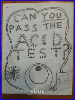 Original 1st Print Grateful Dead Acid Test Concert Poster Handbill RARE! 1 Known