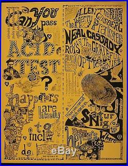 Original Acid Test/Grateful Dead LARGE version 1965 poster! 17 X 22 AOR 2.4