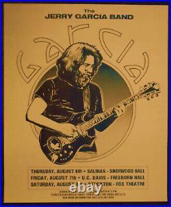Original Concert Poster Jerry Garcia Band Salinas Stockton Davis Aug. 6/8,1981