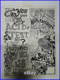 Original First Print Grateful Dead Acid Test Poster NOT Handbill Mint Condition