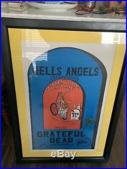 Original GRATEFUL DEAD- HELL'S ANGEL POSTER 1970's Framed