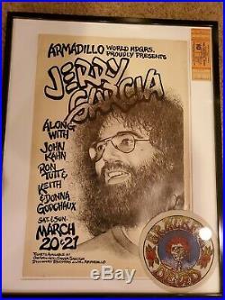 Original Jerry Garcia at Armadillo World Headquarters 1976. Concert Poster
