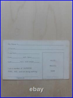 Original Ken Kesey Acid Test Membership Card Grateful Dead Pre-Concert RARE Item