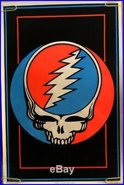 Original Vintage Blacklight Velvet Poster Steal Your Face Grateful Dead Skull