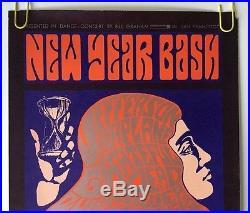 Original Vintage Poster New Year Bash Grateful Dead Jefferson Airplane Wilson 66