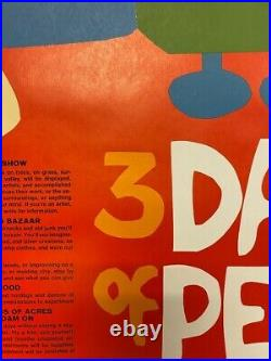 Original Woodstock Poster 1969 1st Print Grateful Dead Jimi Hendrix The Who