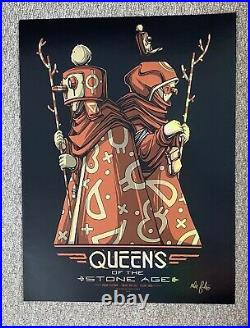 Queens Of The Stone Age Fresno Ca 2018 Gold Foil Orig Silkscreen Concert Poster