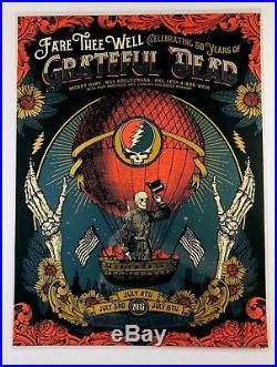 RARE! Grateful Dead Fare Thee Well 2015 Justin Helton Chicago silkscreen poster