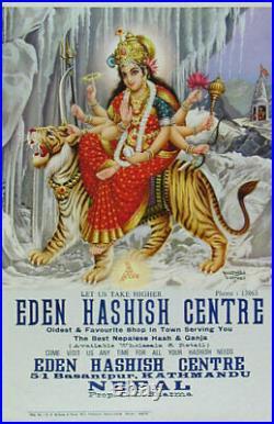 Rare Original Eden Hashish Centre Poster! Snow Durga