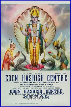 Rare Original Eden Hashish Centre Poster Vishnu
