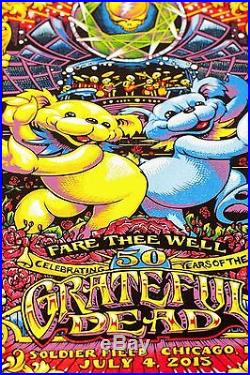 SIGNED AJ Masthay Grateful Dead 2015 Triptych Poster Set Solider Field Chicago