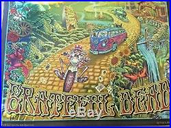 SIGNED Grateful Dead Fare Thee Well 2015 Gold Foil Hologram Poster & and company