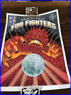 SIGNED & NUMBERED Foo Fighters Wrigley Field Chicago Poster 2018 EMEK