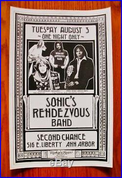 SONIC'S RENDEZVOUS BAND Concert PosterSECOND CHANCE Ann Arbor, MichiganMC5